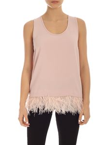 Parosh - Ostrich feathers top in pink