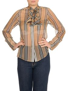 Burberry - Shirt with logo ribbon and iconic striped pattern