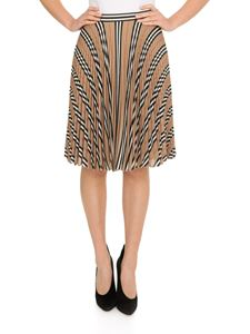 Burberry - Striped print and logo pleated skirt in beige