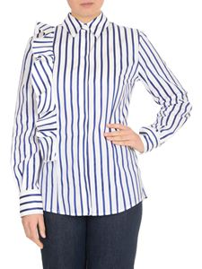 MSGM - White striped shirt with side ruffles