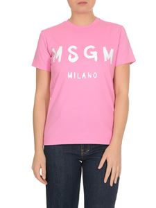 MSGM - T-shirt with brushed logo in pink