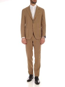 Lardini - Linen and cotton suit in sand color