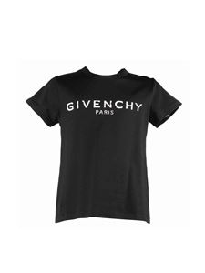 Givenchy - T-shirt in jersey di cotone nero stampa logo vintage