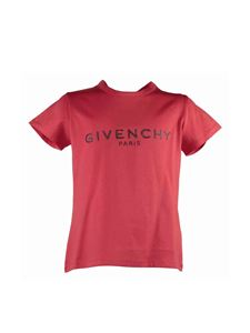 Givenchy - T-shirt in jersey di cotone rosso stampa logo vintage