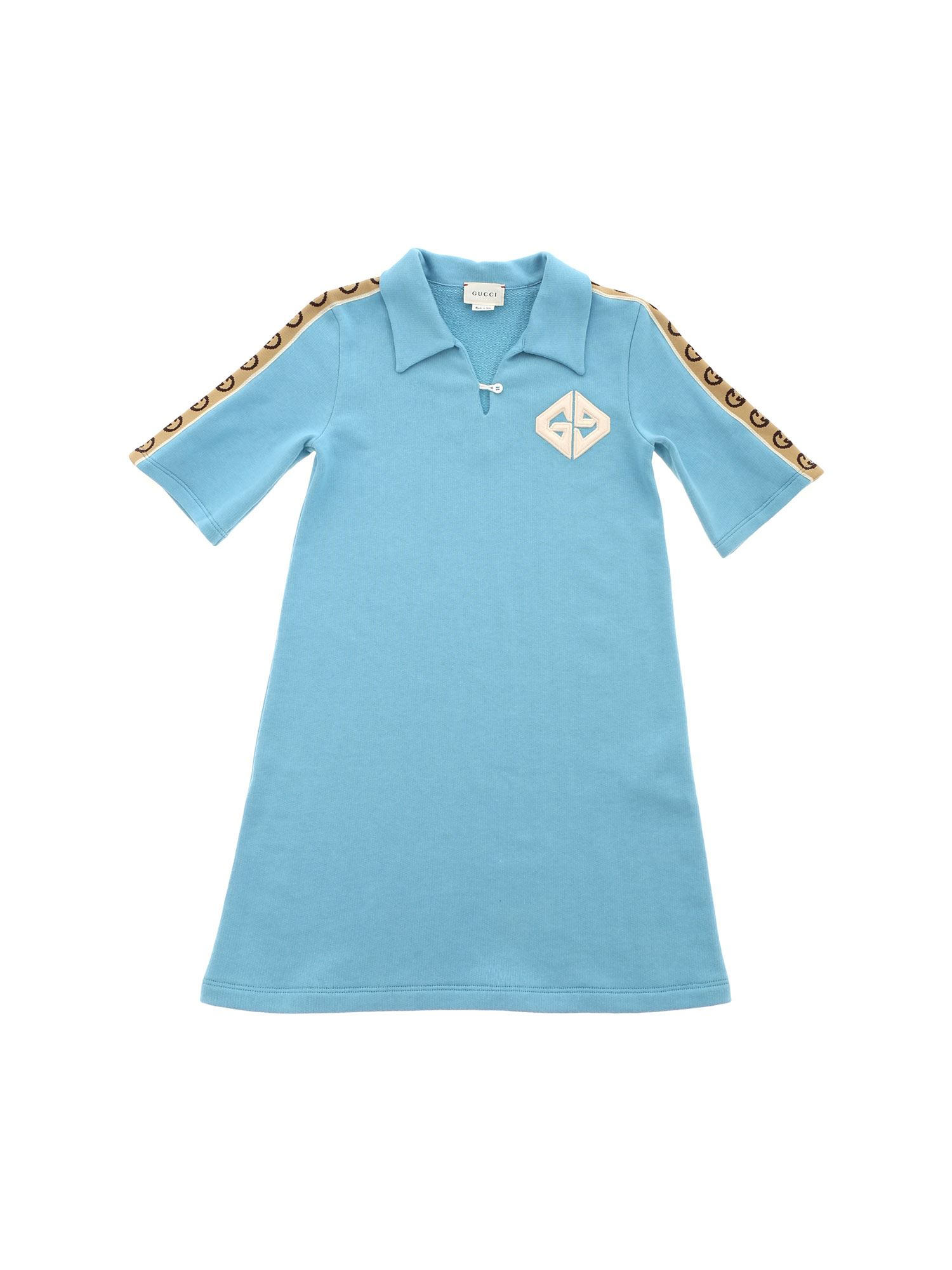 Fendi Jr GG COTTON DRESS IN LIGHT BLUE