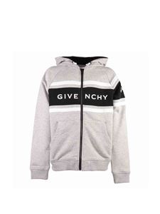 Givenchy - Zipped hooded sweatshirt in melange grey