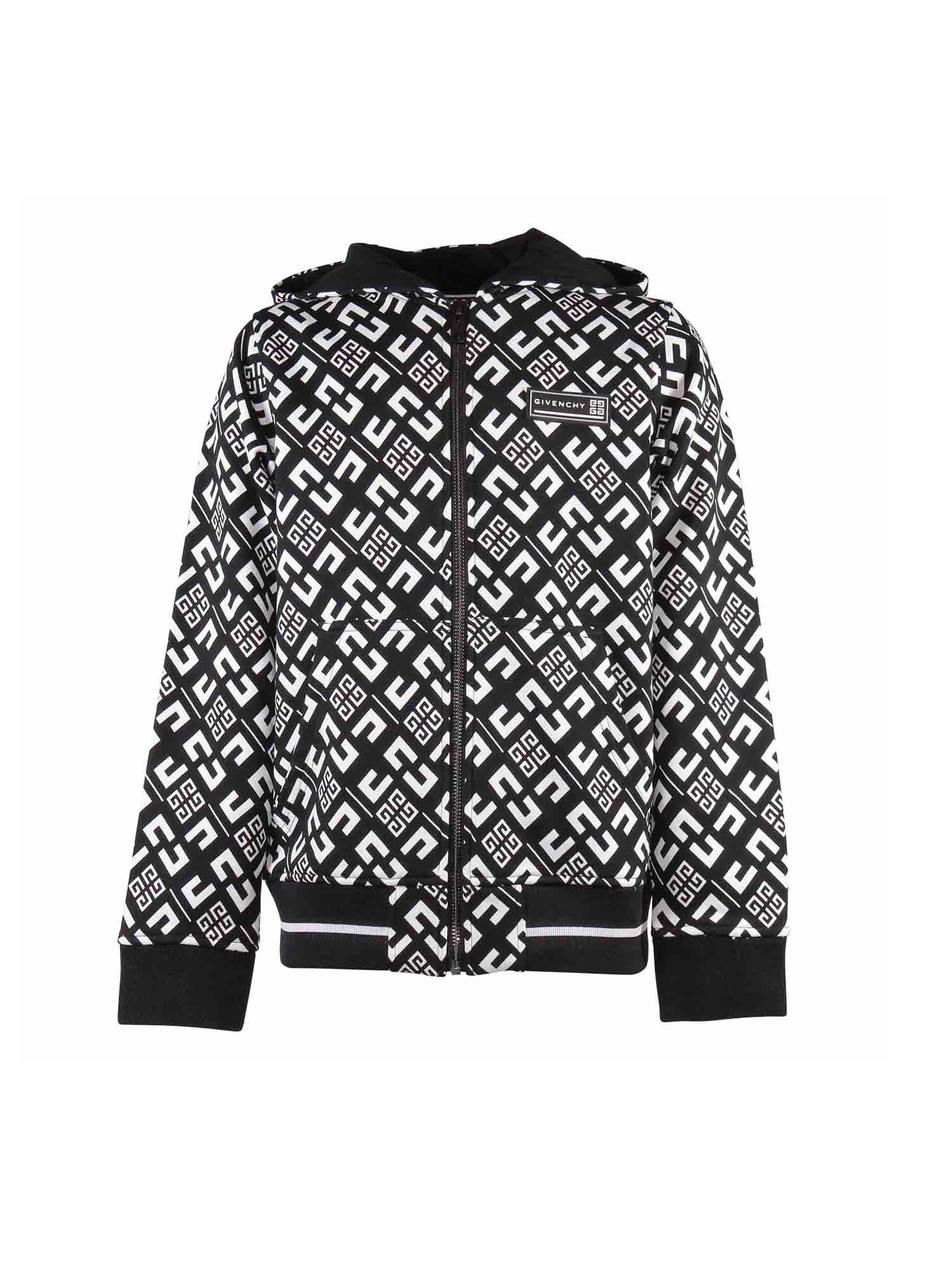 Givenchy Kids' Branded Hoodie In Black And White