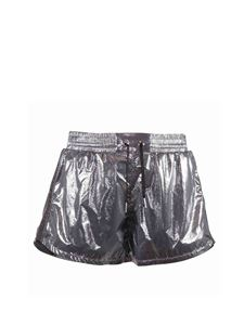 Givenchy - Laminated effect fabric shorts in silver color