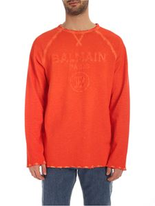 Balmain - Vintage effect long sleeve T-shirt in orange