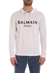 Balmain - Balmain blue logo long-sleeves white T-shirt