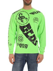 GCDS - Black prints long sleeve T-shirt in green