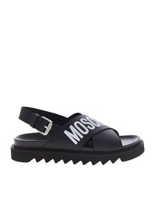 Moschino - White logo print sandals in black
