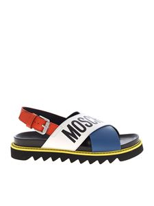 Moschino - Logo leather multicolor sandals