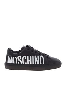 Moschino - Maxi white logo print sneakers in black