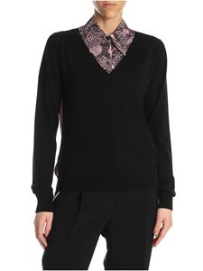 N° 21 - Animal print silk collar pullover in black