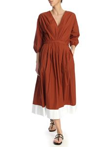 N° 21 - Midi dress in rust color with contrasting bottom