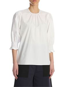 MSGM - Blouse in white cotton with curled sleeves