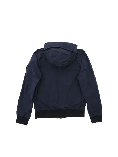 Stone Island Junior - Logo patch jacket in blue
