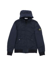 Stone Island Junior - Giubbino blu con patch logo