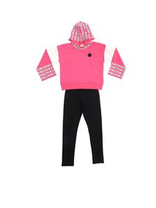 Moncler Jr - Logo tracksuit in fuchsia and black