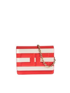 Elisabetta Franchi - Striped shoulder bag in Lacca and Burro color