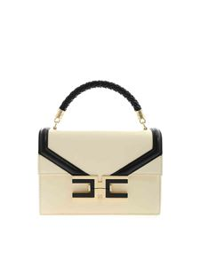 Elisabetta Franchi - Metal logo bag in Burro color and black