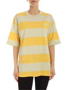 Acne Studios - Logo T-shirt in yellow and mint green