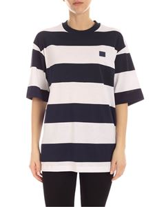 Acne Studios - Logo patch T-shirt in white and blue