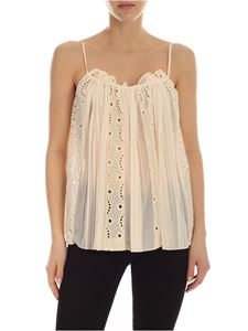 Semicouture - Top Ninon in macramè color crema