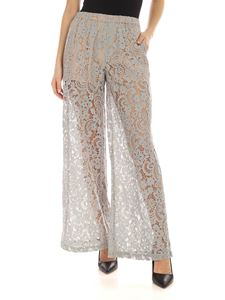 Semicouture - Jacotte palazzo pants in light blue macramé
