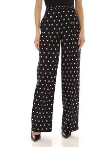Semicouture - Tropic pants in black with polka dot print