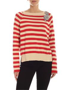 Semicouture - Sarah pullover in ecru and red