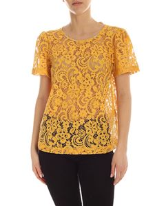 Semicouture - Virginie macramé T-shirti n yellow with nude effect