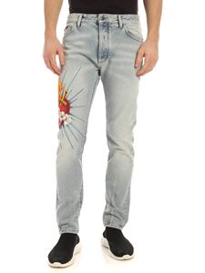 Palm Angels - Sacred Heart  jeans in light blue
