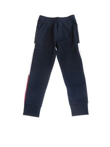 Moncler Jr - Blue tracksuit trousers with coated bands