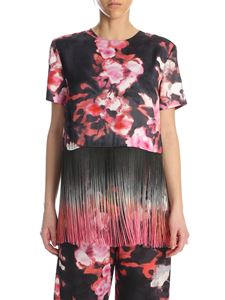 MSGM - Fringed top in black and pink