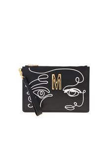 Moschino - White drawing clutch bag in black
