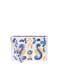 Moschino - Majolica print clutch bag in shades of grey