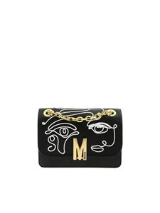Moschino - White drawing shoulder bag in black