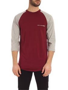 Comme Des Garçons Shirt  - Logo long sleeves T-shirt in burgundy and grey