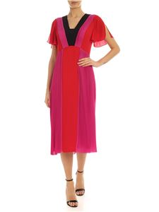 Karl Lagerfeld - Pleated Color Block dress in red and fuchsia