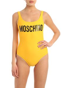 Moschino - Logo lettering swimsuit in yellow