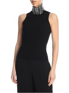 Ermanno Scervino - Sleeveless pullover with rhinestones in black