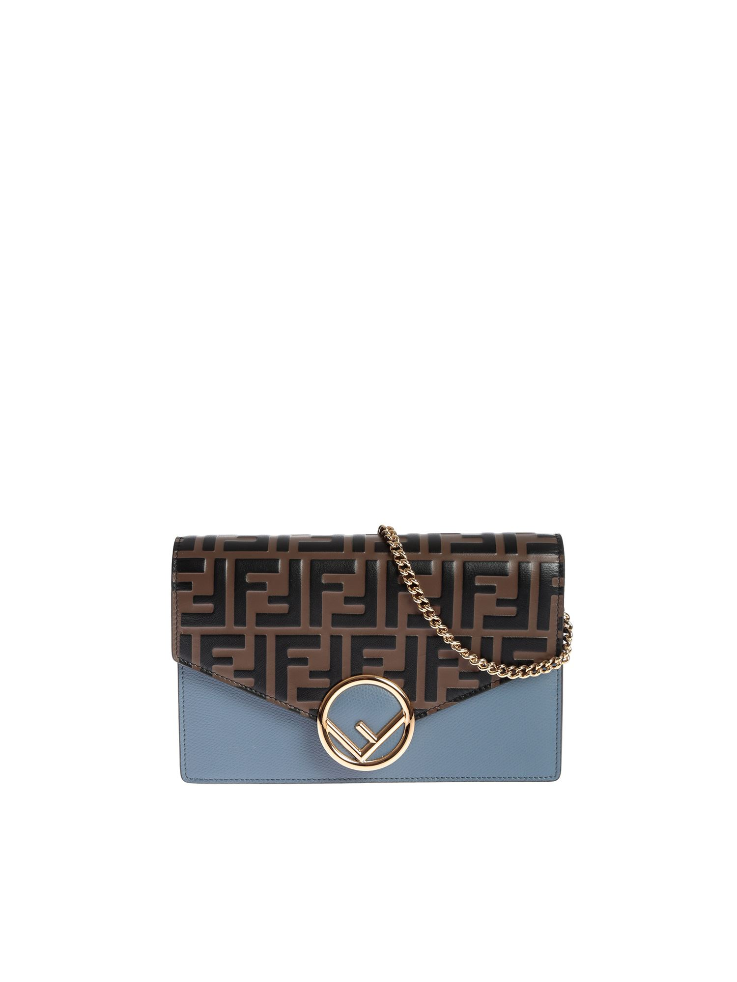 Fendi Wallet On Chain Bag In Light Blue With Brown Ff