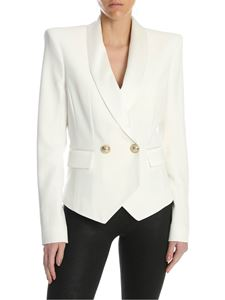 Balmain - Double-breasted jacket in white
