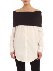 MY TWIN Twinset - Black donut neck long shirt in white
