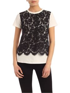 MY TWIN Twinset - Black lace detail T-shirt in white