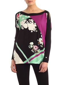 MY TWIN Twinset - Floral pattern multicolor maxi sweater