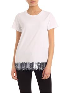 MY TWIN Twinset - Sequin and rhinestone embroidery T-shirt in white