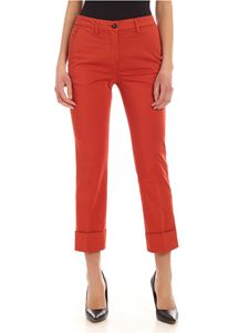 Fay - Turned-up pants in copper color